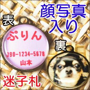 犬猫ペットの顔写真が入る迷子札 首輪やアクセサリーとしても迷子札(犬猫ペットの顔写真入り)オ...