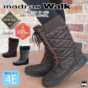 マドラスウォーク madras Walk レディース スノーブーツ 防水 MWL2062 4E レインブーツ ゴアテックス 防滑 黒 ブラウン ネイビー オーク evid
