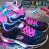 スケッチャーズSKECHERSキッズジュニア女の子光る靴10959Lブラックネイビーピンクevid