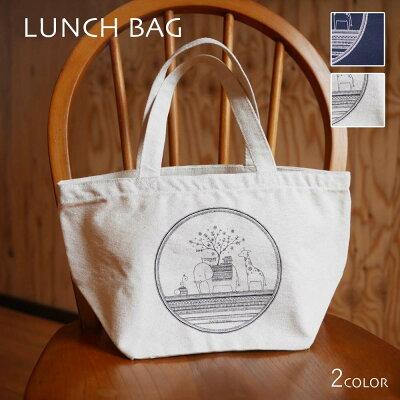 かめいち堂TAJIMAデザイン動物いっぱいの『ランチバッグ』シンプルで繊細なラインを描くキャンバスミニトートバッグお弁当