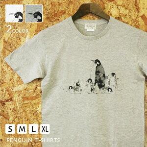 ペンギンかめいち堂TAJIMAデザイン『Tシャツ』シンプルで繊細なラインレディースメンズウィメンズぺんぎん[ホワイト/グレー/S/M/L/XL]