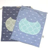 2cm刻みでサイズが選べる!猫型ポケットの巾着袋32×26cm(M)MadeinJapan