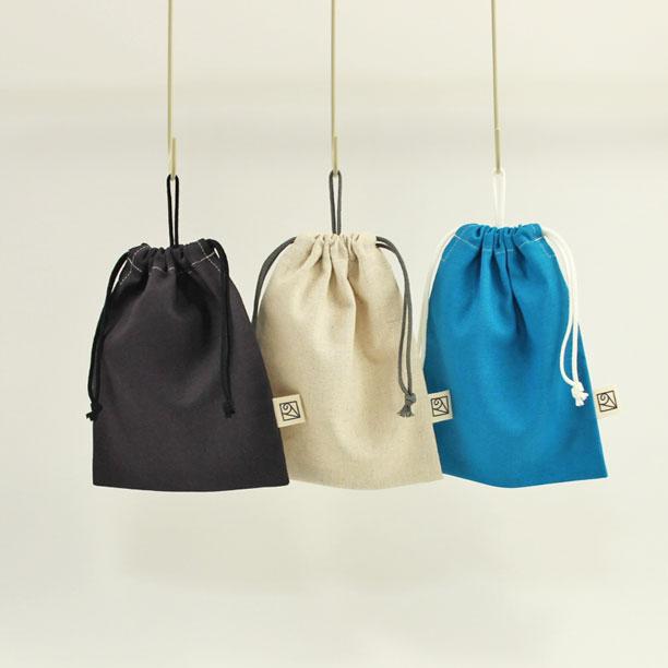 コットンリネンのループ付き巾着袋(給食袋)2cm刻みでサイズが選べる!20cm×16cm(loop-M)★大人の綿麻キャンバス Made in Japan