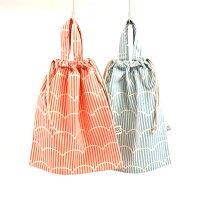 プクプクストライプの持ち手付巾着袋(体操服袋)S(33cm×28cm)MadeinJapan