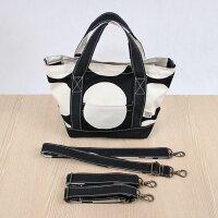 ドット柄帆布のトートバッグ(フタ+肩紐+車椅子ベルト付)SSサイズブラックMadeinJapan