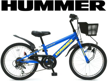 子供用20インチ自転車ハマーキッズバイク ブルーシマノ製6段変速ギア前カゴ&ベル&泥除け&チェーンカバー標準装備ロゴプリントサドルハロゲンダイナモライトイエローロゴフレーム強靭なイメージのあるアメリカブランド