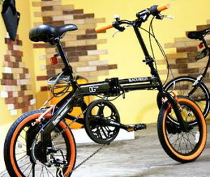 16インチ折り畳み自転車 DGカーボンブラックフレレーム×オレンジラインタイヤシマノ製6段変速...