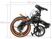 16インチ折り畳み自転車DGカーボンブラックフレレーム×オレンジラインタイヤシマノ製6段変速ギア&ワイヤーロック付きロングホイールベースツインチューブアルミフレーム折りたたみ自転車フォールディングバイク