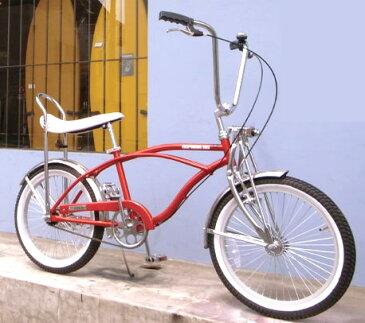 20インチ自転車 ローライダー タウンバイクバナナシート アッパーハンドル気軽に街乗りで少しオシャレに乗りこなせるこの1台段差も吸収 フロントサスペンションフォーク搭載サックスブルー グリーン パープル レッド1960年台アメリカ西海岸発祥