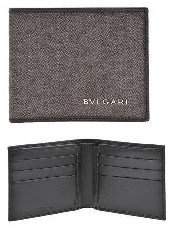 BVLGARI ブルガリ 二つ折り財布札入れ カードケースグレー×ブラック ウィークエンド小銭入れ無し  コーティッドヘリテージキャンバスさいふ サイフ ウォレットWEEKEND WALLET