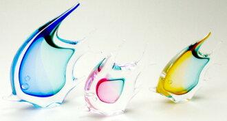 用波希米亞人玻璃杯藝術捷克的光輝是日本并且花基礎玻璃藝術熱帶魚三鯉魚Handmade Vases glass art Made in Czedh室內裝飾陳設品小花瓶花瓶