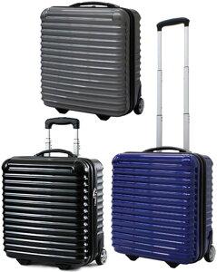 機内持ち込み可能ノートパソコンもスマートに収納 安心TSAロック仕様伸縮ハンドル&2輪キャスター付きスーツケース小旅行用バッグ ポリカーボネイト加工ハードケース ブラック グレ
