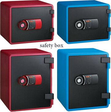 家庭用耐火金庫 重要書類や通帳や実印液晶パネル付きテンキーロック電子金庫インテリアセイフティーボックス ブルー レッドブラックパスワード金庫カード、合鍵、現金&印鑑&腕時計やアクセサリーなどの貴金属を安全安心をコレ1台でカバー