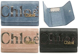 Chloe ECLIPSE6連キーケース クロエ エクリプスリザード キーホルダー3P0304 157129 PINK BEIG...