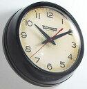 レトロオフィスクロックオールドアメリカン ヴィンテージホワイト ホワイトコンタクトレンズのように膨らみのあるフロントガラスCARVE DOME GLASS CLOCKブラック ドームガラス 壁掛け時計アナログ WALL CLOCKの写真