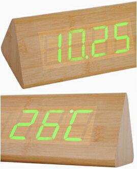 綠和木紋是數字從調和木紋的內側浮出的日期、時刻、溫度表示木材三角形桿鬧鐘鬧鐘黑暗狀態,但是對確認天然×綠寶石綠色LED鐘表黑色灰色座鐘音以及振動在時候之間有反應,亮的節電方式搭載