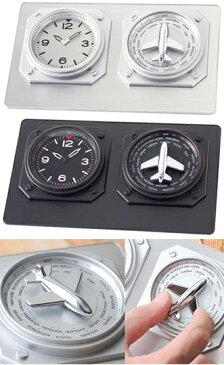 アナログプレーンワールドタイムクロック飛行機を時刻を知りたい国にダイヤルを合わせれば左の時計がリンクしてワールドタイムを表示時差世界時計 ブラック シルバーワールドクロック デスククロック 置き時計世界24都市の時間を教えてくれる