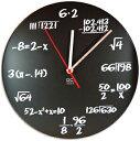 数学者を目指す君に色んな数式が描かれた壁掛け時計ブラックボードラウンドウォールクロック赤色の秒針 計算や算数がいつも身近にブラック×ホワイトQuiz Radial ROUND WALL CLOCKプレゼントやギフトに 黒板&チョークモチーフ Mathematical formulaの写真