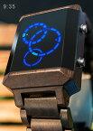 未来系LED腕時計メンズ レディース ユニセックスウォッチLEDトリプルリング 衛星の軌道3つのリングで時間を表示ウッドブラウン レッドLED ブルーLED三連リング表示天然木製ブラウンストラップベルト