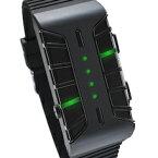 未来系LED腕時計メンズ レディース ユニセックスウォッチ遺伝子の組み換えをインスパイアベダークローンウォッチホワイト ブラックグリーンLED ブルーLED回転&フラッシュ&アニメーション機能付き