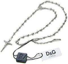D&G ドルチェ&ガッバーナロザリオネックレスペンダントネックレスシルバークロス&ブラックボ...