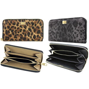 DOLCE & GABBANA Dolce & Gabbana D & GPVC × Leather Round fastener long wallet logo engraving plate Dolga Leopard leopard pattern animal pattern gray × black 8B836 brown × black 8S193 × beige 8l298 Ladies A71588R088RE8S193BK