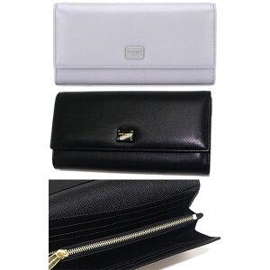 DOLCE&GABBANA D&G Dolce&Gabbana Dolga Bass Smooth leather Bi-fold long wallet with coin purse Rivet out Logo plate Black logo engraved plate 8B956BK Two-fold long bill D&G Saifu wallet