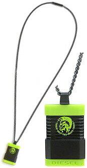 DIESEL ペンダントネックレス ロゴ刻印ディーゼル スライドカバーモヒカンスクエアプレートブラック×ライムグリーンブラック×ブラックアクセサリー メンズ レディースPENDANT NECKLACEブレイブマンボタンロゴドッグタグプレート