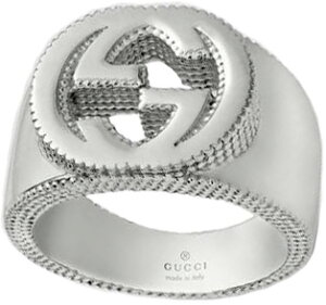 4806c497264a GUCCI グッチ シルバーリングインターロッキングG 指輪ダブルG ギザギザエッジSILVER RING 8106SLシンプルロゴ刻印メンズ  レディース 男女兼用ペアリングとし.