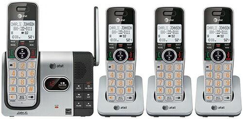 AT&T LCDディスプレイオレンジナンバー デジタルコードレスフォン盗聴がされ難くクリアな音声通話が可能なDECT6.0方式採用デジタル留守電話機能付き電話機4ハンドセット ブラック×シルバー増設用子機 くびれライン50件メモリー 留守録最大22分:kaminorth
