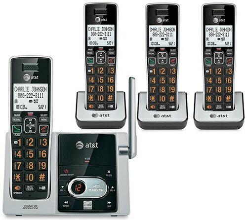 AT&T DECT6.0方式で会話が一段と音声通話クリアにブラック×シルバーコードレス留守番電話機コードレス子機電話帳50件最大12台まで増設可能オレンジナンバー ハンズフリー機能デザイン電話機 家電Cordless Telephone:kaminorth