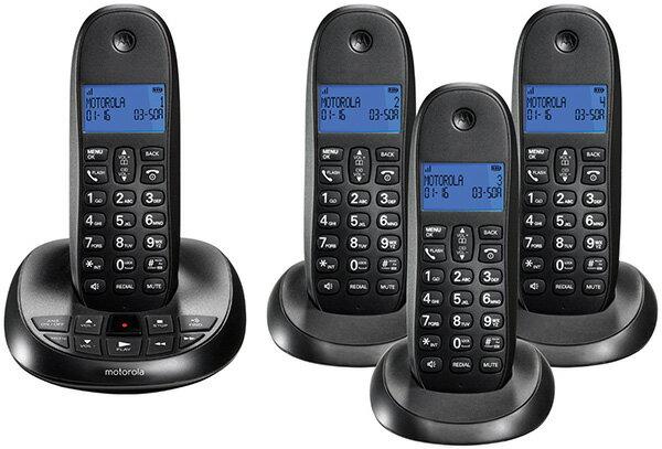 Motorola モトローラデジタルコードレスフォン盗聴がされ難くクリアな音声通話が可能なDECT6.0方式採用デジタル留守電話機能付き電話機親機もコードレス ブラック ブルーLCDディスプレイCordless Telephone:kaminorth