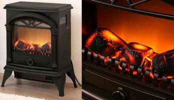 見ているだけでも暖かい電気式即暖温風暖炉型ファンヒーター北欧の冬のリビングの暖炉をモチーフレトロアンティークヒーターダークブラウンブラックアイボリー薪が燃えているような臨場感ライティングの強さも無段階調整可能暖房器具