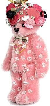 PRADA プラダキーリング&フックホルダーテディーベアーエネアチャーム三角ロゴプレート&フラワーテディベア ピンクヘア×シャンパンゴールドクマのぬいぐるみ キーホルダークリアビジュー&レザーリボン 熊トリックオルセット ホリデーベア