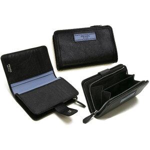 PRADA 프라다 L 자형 지퍼 지갑 동전 지갑 밀라노 로고 가죽 태그 소프트 송아지 가죽 블랙 x 스틸 블루 콤팩트 지갑 미디엄 지갑 미디엄 지갑 바이 컬러 F0OK0BKSBLGLACECALFCITY NERO x ASTRALE