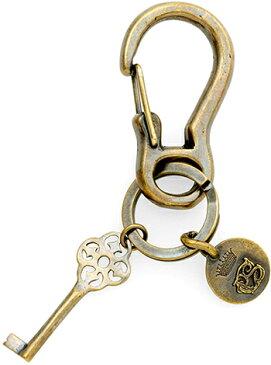 Paul Smith ポールスミス キーリングカラビナフック ブロンズアンティークゴールドキーモチーフ&キーリング鍵 真鍮キーホルダークレストロゴコインプレート 紋章メンズ レディース男女兼用真鍮 カーフPS527051 254505230コレクション