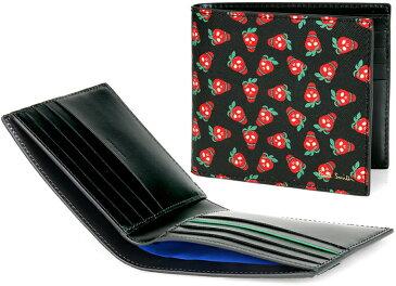 Paul Smith ポールスミス 苺柄二つ折りカードケースドクロイチゴ柄 メンズ2つ折り名刺入れ札入れ 名刺ケースストロベリースカルプリントCARD CASE エンボスロゴブラック レッド×グリーン カードケース 札入れ財布 サイフ さいふ ウォレット