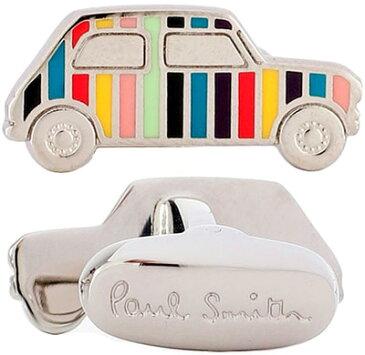 Paul Smith ポールスミス カフスマルチカラーストライプ シルバースーツスタイルアクセサリーミニクーパープレート小物 車 シャツボタンダウンスーツスタイルの隠しアイテムSTRIPED CAR ARTC CAR CUFFLINK