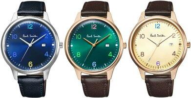 PaulSmith日本製ブメント腕時計ポールスミスシンプルモダンウォッチカーフレザーベルトゴールド×ブラウン×グリーンシルバー×ブラックブルーTHECITYWATCHオートマチック日付けカレンダー付き