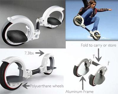格好良さを追及する! ダブルリングスケータースケートボード・スノーボード・インラインスケートのミックス手軽にスケボーやサーフィンの感覚を楽しむコンパクトに詰め込み Wリングライダー左右の足を輪の中に片足づつ乗せるだけホワイト ブラック:kaminorth