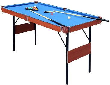 パーティー&イベントに大活躍 テーブルゲームビリーヤードテーブルセット折りたたみ可能 ブルー×ブラウン狭いスペースでも楽しめるビリヤード台キューや球も揃て直ぐ遊べる軽くて片付けも楽々!キューやラックも揃って直ぐ楽しめます!
