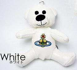 Vivienne Westwoodヴィヴィアンウエストウッド 携帯ストラップ 熊スマートフォン&スマホ用キーホルダーテディーベアー チャームオーブロゴ刺繍 テディーベア クマさんぬいぐるみチャームTEDDY WHITE ORBGADGET ORSETTOECOPELLE