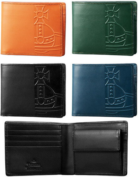 Vivienne Westwood  WALLETヴィヴィアンウエストウッド メンズ小銭入れ付き二つ折り財布ビッグオーブロゴオレンジ ブラック グリーン ネイビーブルーレザーカーフ エンボスオーヴトツロゴウォレット さいふ サイフ 2つ折り財布