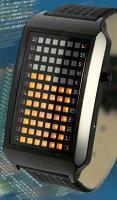 未来系LED腕時計メンズウォッチボルテックスLCDディスプレイブラック×ブルーLED、ブラック×オレンジLED