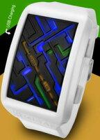 未来系LED腕時計メンズウォッチタイム&マップフェイスブラックホワイトマルチカラーLED