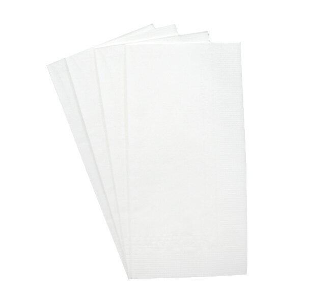Eight folded white solid color paper napkins 45 cm 2 ply DCF fold 2,000 with ☆☆