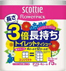 日本製紙クレシアスコッティフラワーパック3倍長持ちトイレット4ロール75mダブル×12パックまとめ買い送料無料