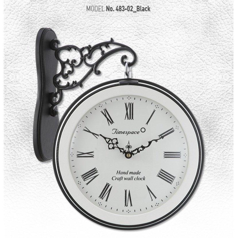 両面電波時計 革483-02BBおしゃれな 低騷音 インテリア 両面壁掛け時計 電波両面時計