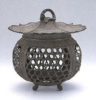 ta57-55高岡銅器 庭置物 蛇籠灯篭 小 古手色【送料無料】
