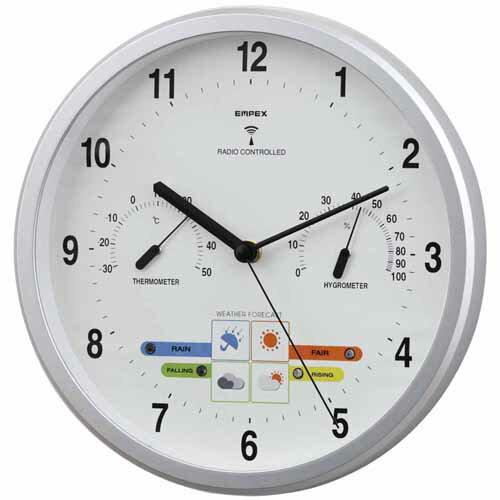 エンペックス ウェザーパル電波時計(シャインシルバー) BW-878 温度湿度計付・お天気電波時計 天気予測 時計 EMPEX 壁掛け時計 多機能壁掛け時計 電波時計 WEARHER CLOCK